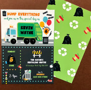 Garbage Truck Birthday Invitation