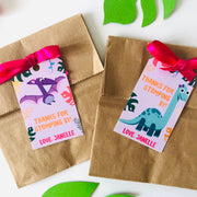 Girl Dinosaur Party Favor Tags