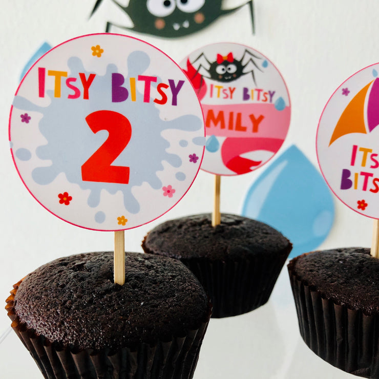 Girl Itsy Bitsy Cupcake Toppers