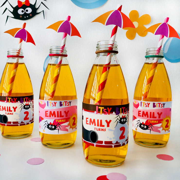 Girl Itsy Bitsy Spider Drinks Labels