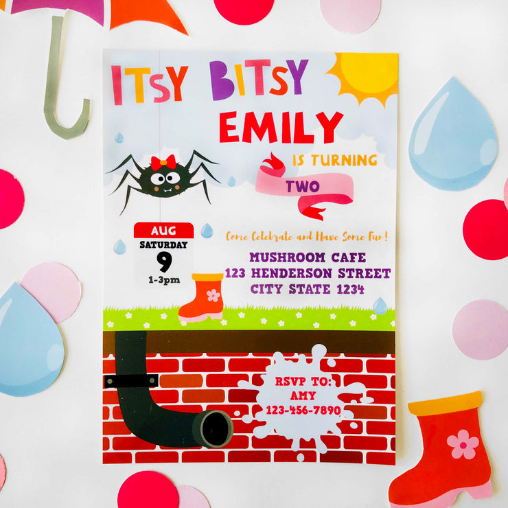 Girl Itsy Bitsy Spider Invitation