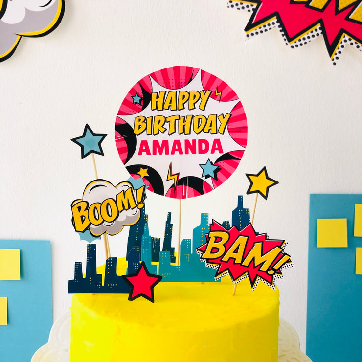 Girl Superhero Cake Topper