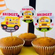 Girl Wheels on the Bus Cupcake Toppers