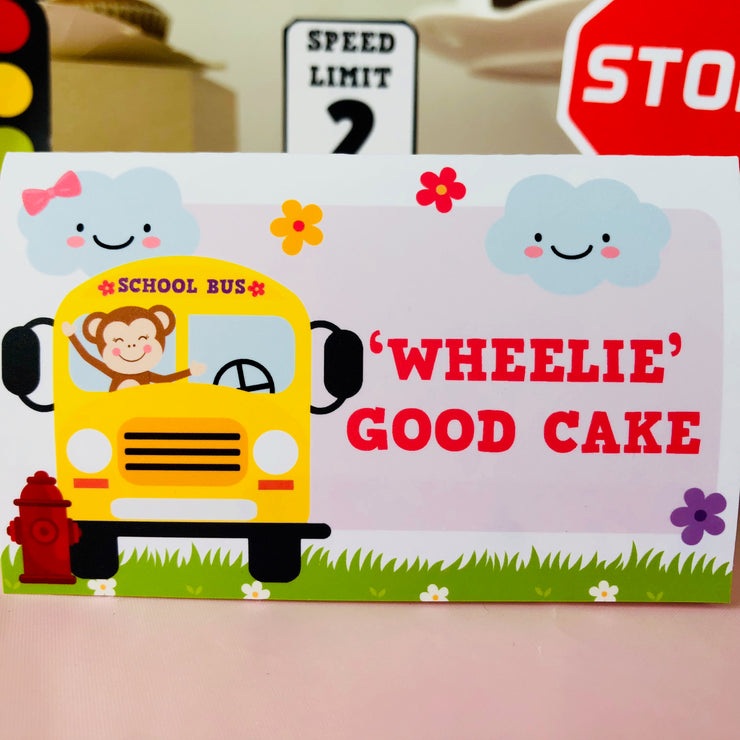 Girl Wheels on the Bus Food Label