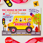 Girl Wheels on the Bus Invitation