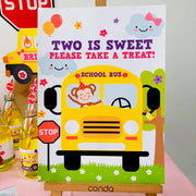 Girl Wheels on the Bus Party Decor Sign