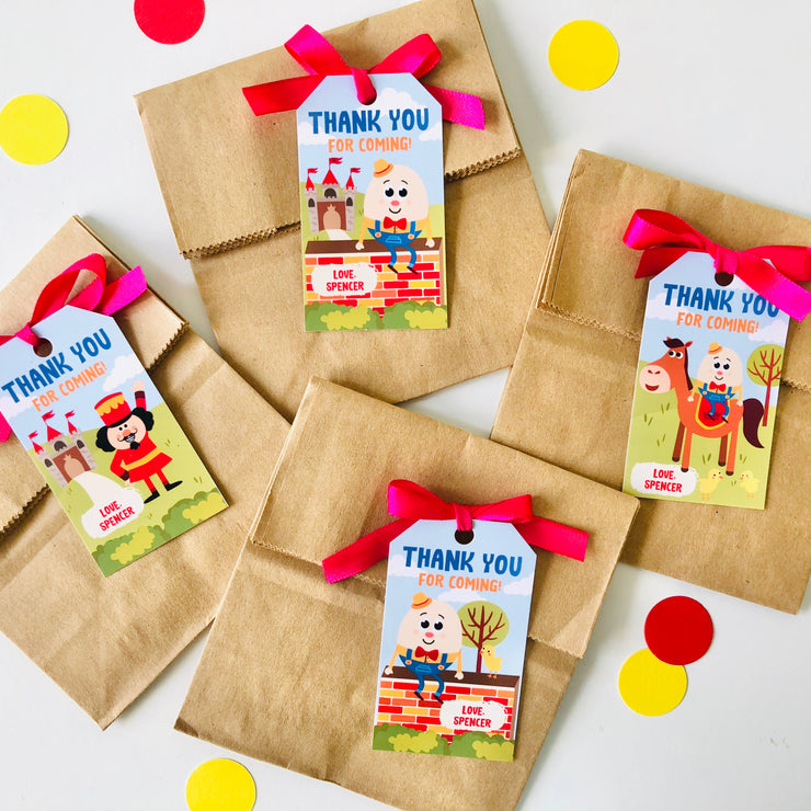 Humpty Dumpty Party Favor Tags