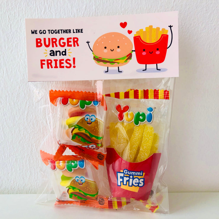 Funny Valentines Printable Burger and Fries