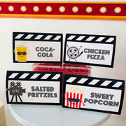 Movie Night Party Food Labels