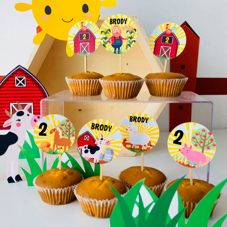Old MacDonald Farm Cupcake Toppers