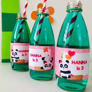 Panda Girl Party Bottle Wrappers