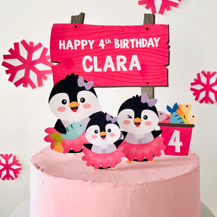 Penguin Girl Tutu Cute Cake Toppers