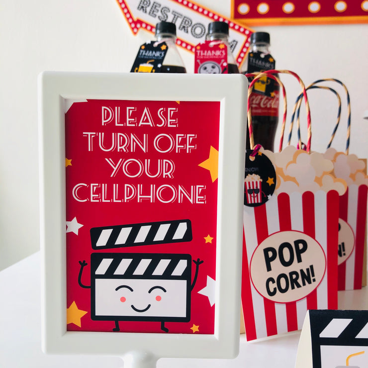 Movie Night Party Sign