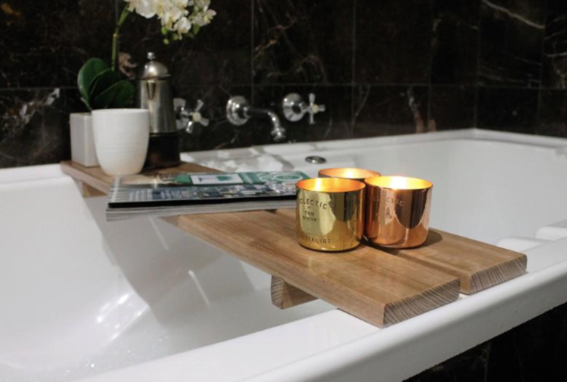 Birch Wood Luxury Bathtub Caddy Tray/Bath Board