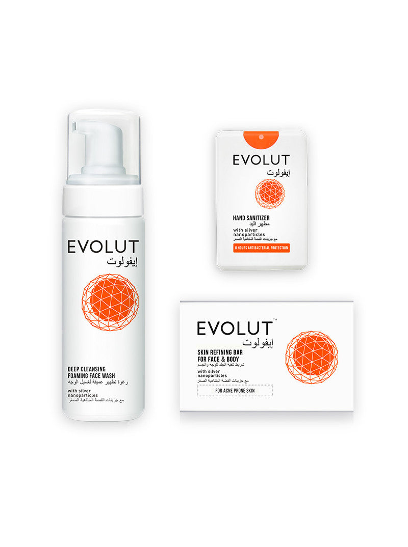 Family Kit - Soap, Face Wash and 3 Sanitizers by Evolut