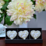 White Heart shaped candles - set of 3
