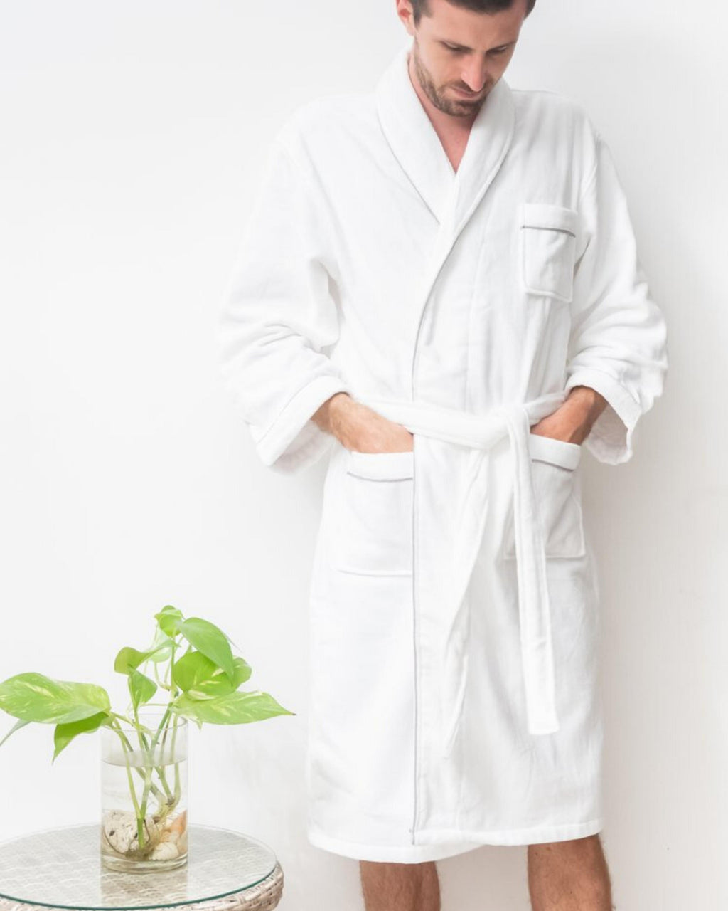 Classic Spa Bathrobe for Men - Grey (option to personalize!)