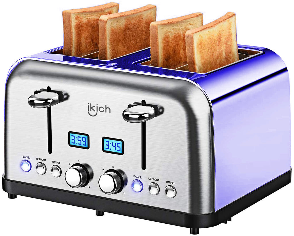 Toaster 4 Slice IKICH, High Gloss Brushed&Polished, Stainless Steel 4-Slice Toaster[2 LCD Timer Display], 6 Variable brownings/High-Lift/Automatic Wide Slots, Defrost/Reheat/Bagel/Cancel, 1750W/Purple