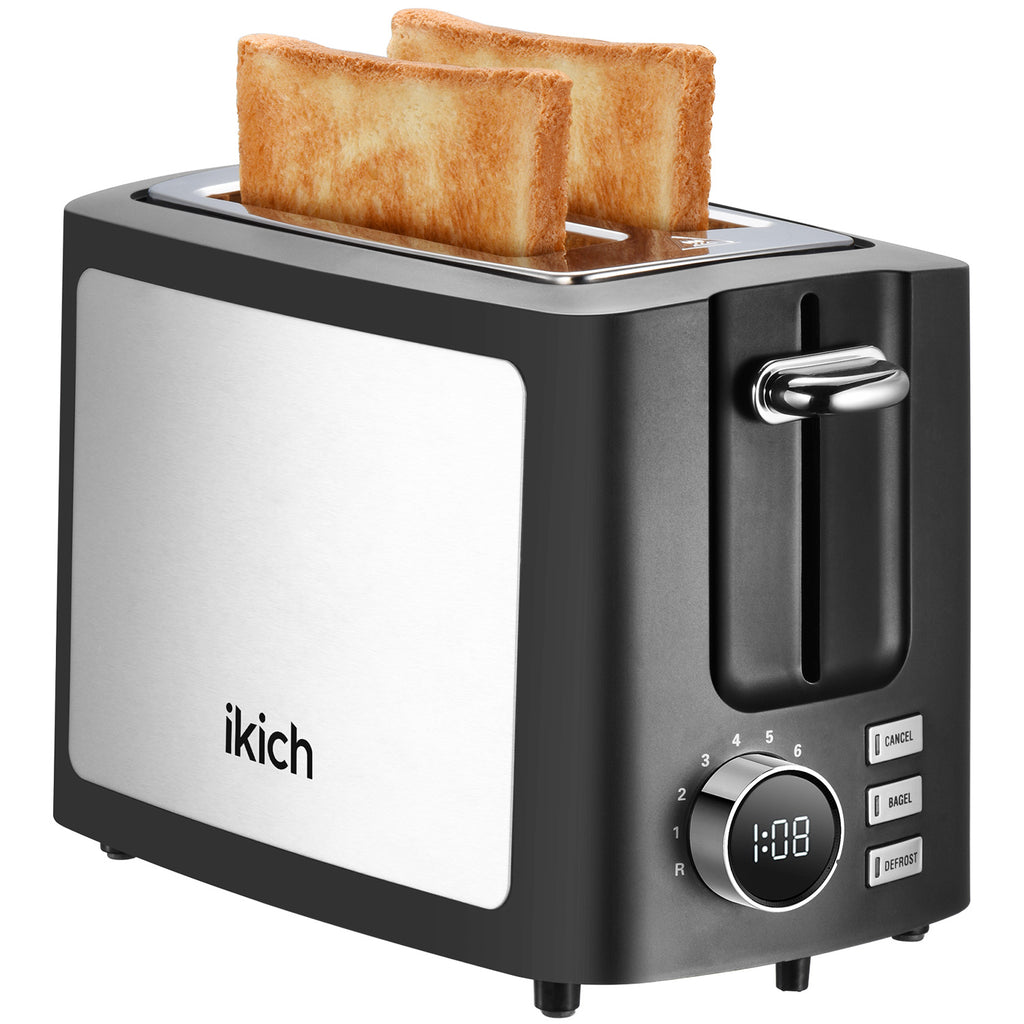 IKICH Toaster 2 Slice, 9 Shade Settings Toasters, Unique LCD Screen Stainless Steel Toaster, Extra Wide Slot for More Bread(Cancel/Bagel/Defrost/Reheat Function, Easy to Clean Removal Crumb Tray)