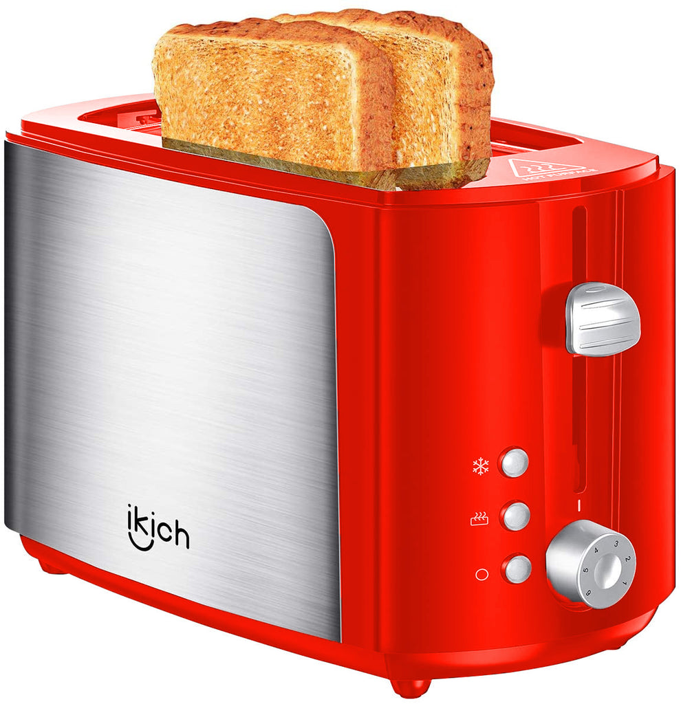 2-Slice Toaster IKICH, 2 Slice Brushed Stainless Steel Toasters, High Gloss Plastic (Warming Rack/6 Variable Brownings, Defrost/Reheat/Cancel, Removable Tray, High Lift/Cool Touch/Silver&Red)
