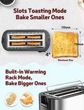 IKICH 4 Slice Toaster, Stainless Steel, Extra Wide 4Slice Long Slot Toaster, 6 Browning Setting(Warming Rack/Variable Width/High-Lift/1500W, Defrost/Reheat/Cancel/Automatic Toaster)