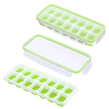 IKICH Ice Cube Trays with Locking Lids,【Unique】Easy-Release Silicone Ice Trays 2 PCS Stackble Ice Cube Molds with Spill-Resistant Removable Lids, FDA LFGB Certified BPA Free for Whiskey Baby Food Green