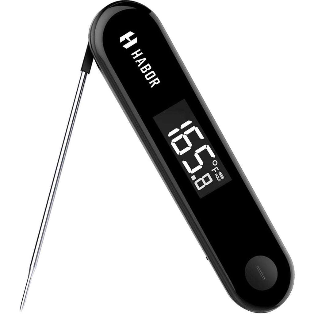 Habor Rechargeable Meat Thermometer, IPX7 Waterproof Candy Thermometer, 3Seconds Instant Read with Sensitive Touchable Button for Home Kitchen Food Turkey Milk Outdoor BBQ Grill Smoker Milk Yogurt