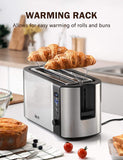 4-Slice Toaster, IKICH Upgraded Toasters LED Countdown Display Stainless Steel, Warming Rack, 6 Variable Control, 4slice long slot toaster (Frozen&Cancel&Reheat), Removable Crumb Tray, 1500W