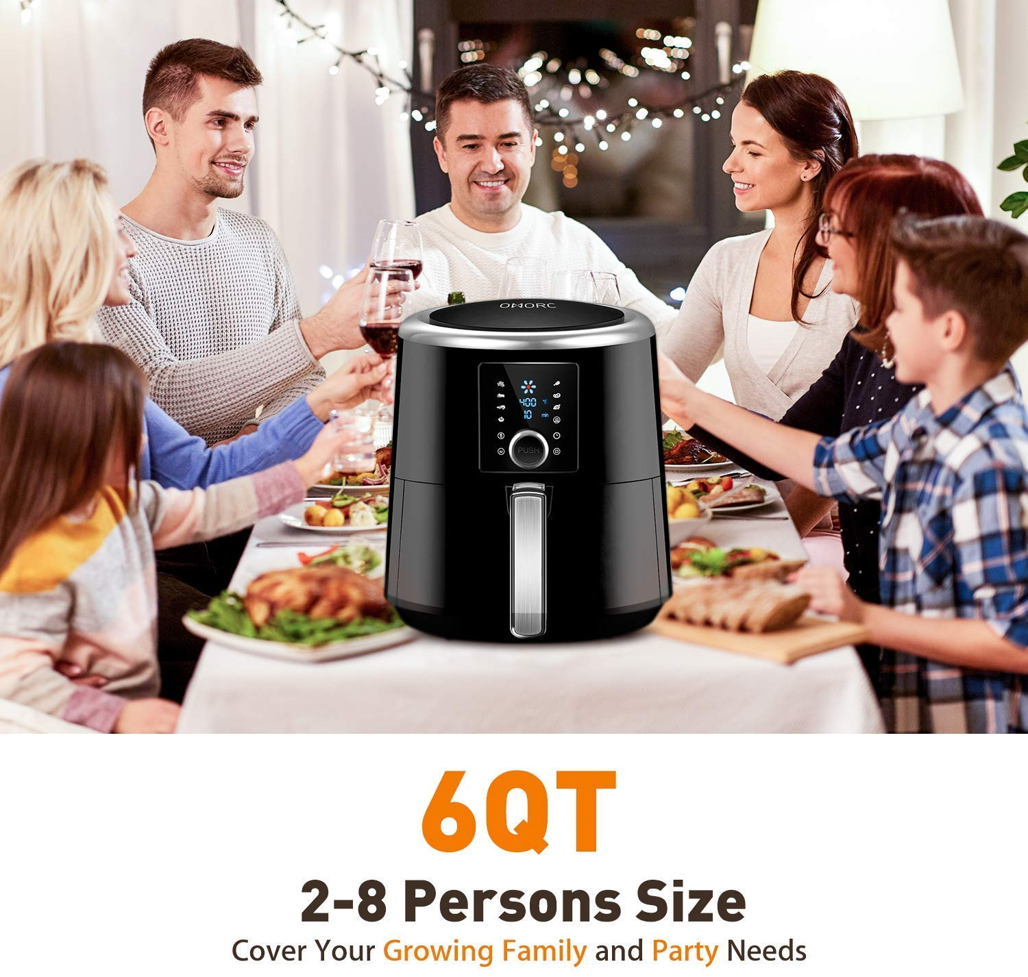 OMORC Habor Air Fryer, 6 Quart Pot & 5.8QT Basket, 1800W Fast Large Hot Air Fryers & Oilless Cooker w/Presets, LED Touchscreen(for Wet Finger)/Roast/Bake/Keep Warm, Suitable for Dishwasher, Nonstick