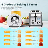 iKich 2 Slice Toaster Stainless Steel [Upgraded LCD Timer Display] Bagel Toaster (8 Bread Shade Settings, Bagel/Defrost/Reheat/Cancel Function, Extra Wide Slots, Removable Crumb Tray, 900W, Silver)