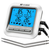 Habor 063 BBQ Thermometer, Digital Cooking Meat Thermometer, Instant Read Food Thermometer with Large LCD Backlight & Timer Mode for Kitchen Smoker Oven Grill Turkey Beef Candy Milk Water(Dual Probes)