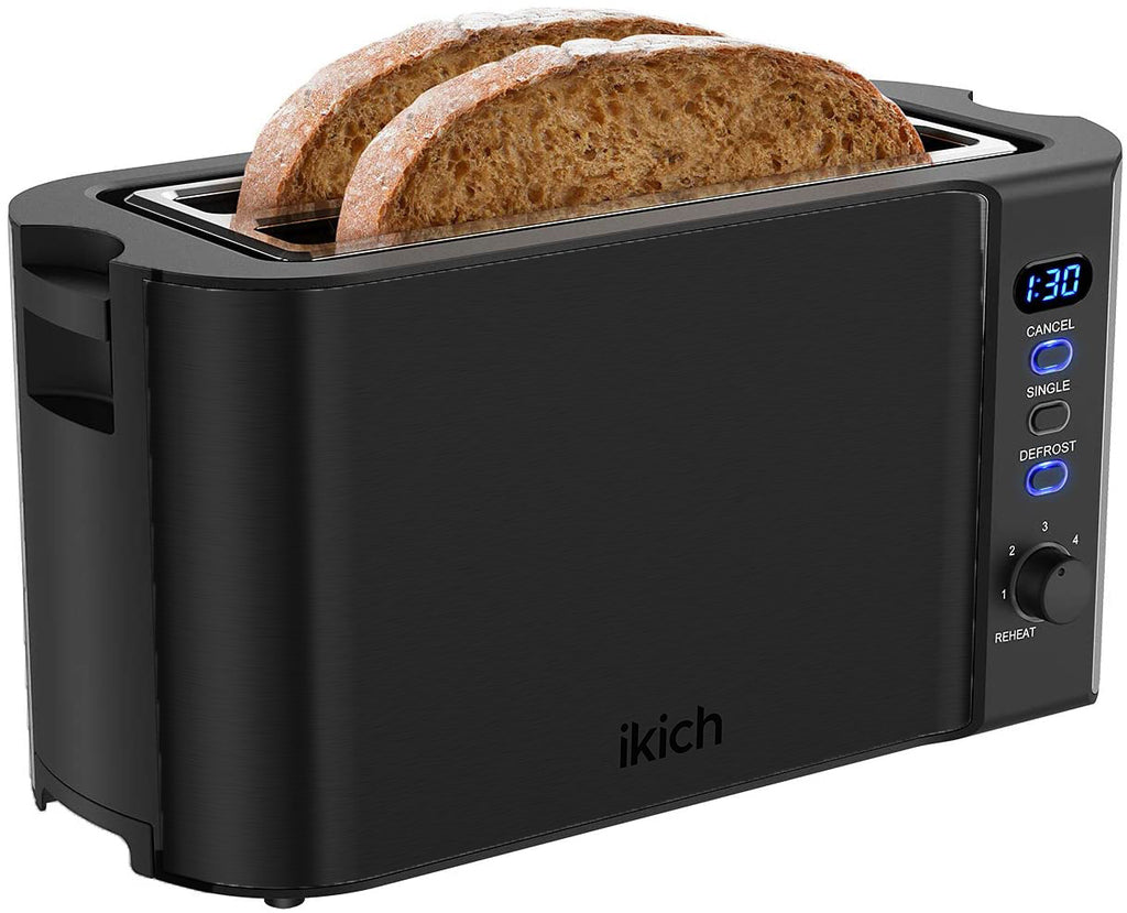 IKICH 4 Slice Toaster, Clear LED Display, Long Slot Toaster with 6 Shade Selectors, Single Reheat Cancel and Defrost Buttons, Warming Rack, Stainless Steel Toaster, Slide-Out Crumb Tray, Auto-Shutoff
