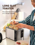 Toaster 4 Slices, IKICH LCD Countdown Display Toaster 2 Slice with Long Slots, Stainless Steel, Cmpact, Warming Rack, 6 Variable Control, Removable Crumb Tray, 1500W