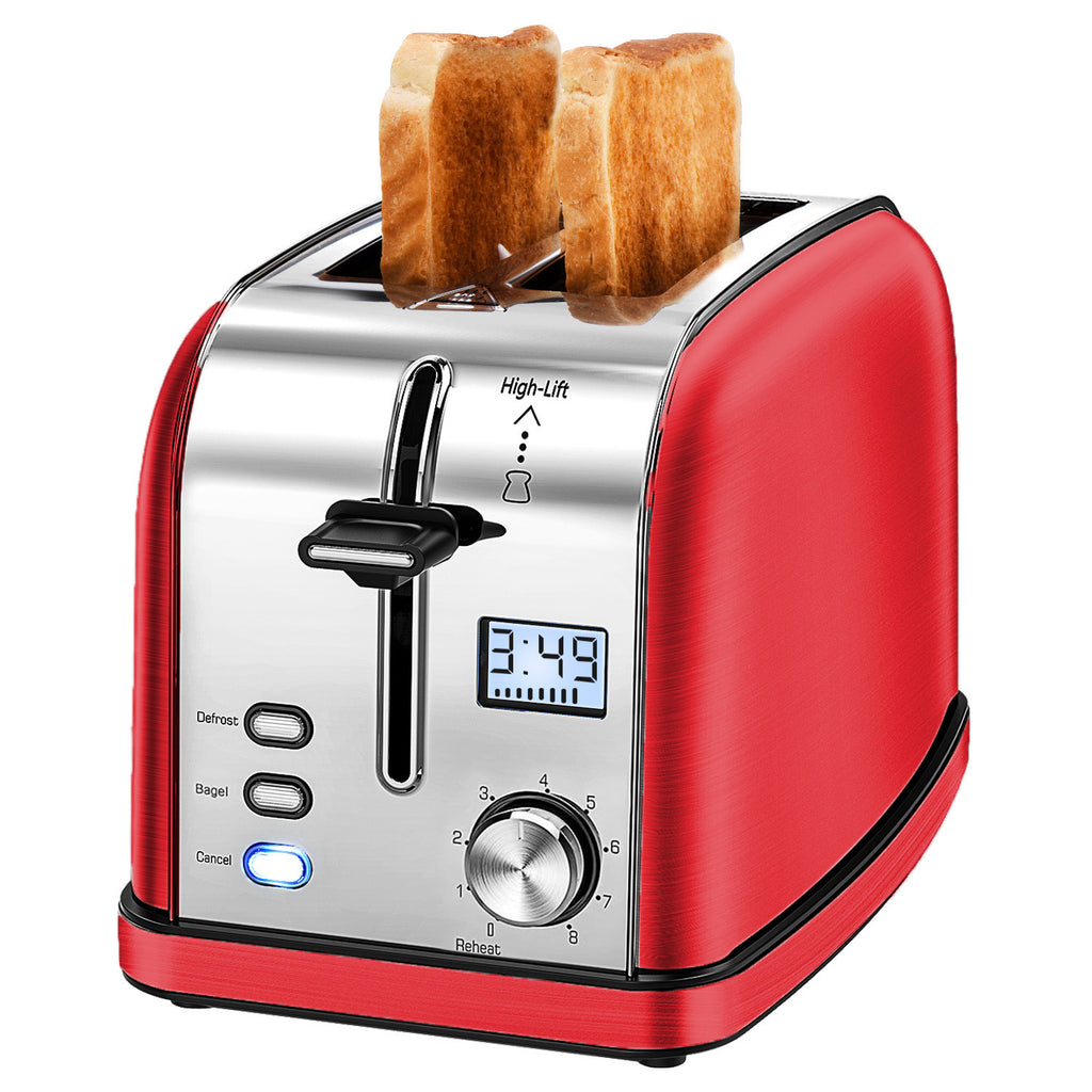 "IKICH Toaster 2 Slice, Prime Rated Stainless Steel Bagel LCD Timer, 8 Bread Settings, Bagel/Defrost/Reheat Function, 1.5"" Wide Slots, Removable Crumb Tray, 900W"