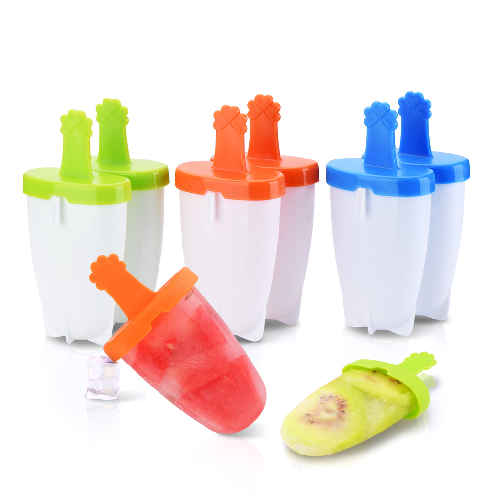 IKICH Popsicle Molds, Food Grade 6 Pieces Ice Pop Molds, 100% BPA-free and FDA-approved,  Reusable fresh homemade popsicles, Perfect for toddlers, popsicle molds for kids
