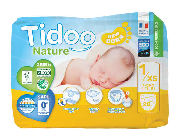Tidoo Nature T1/XS - couches jetables écologiques New Born - 2-5 kg - 26 couches