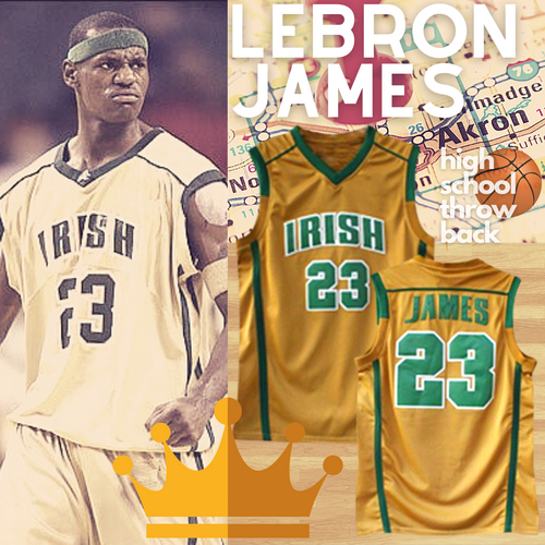 Lebron James High School Basketball Throwback Jersey Irish Akron Ohio Los Angeles