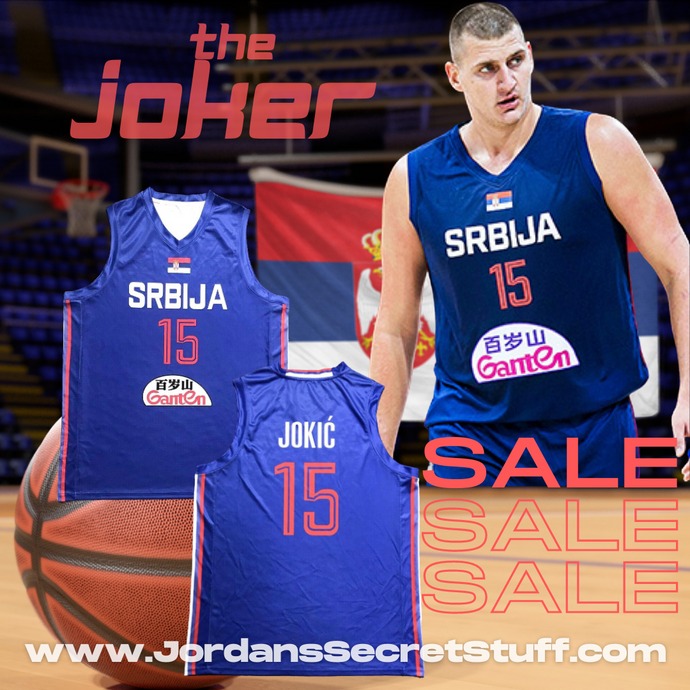 Nikola Jokic Serbia EuroLeague Basketball Blue colorway Jersey Custom Throwback Retro Jersey