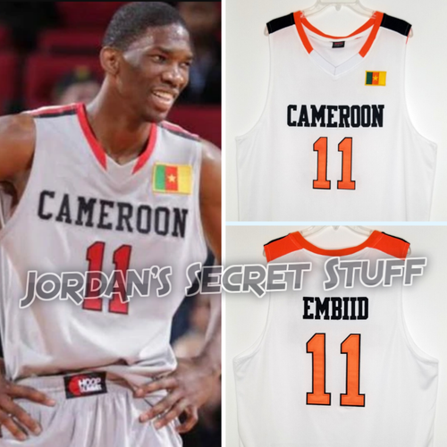 Joel Embiid Cameroon EuroLeague Basketball Jersey Custom Throwback Retro Jersey