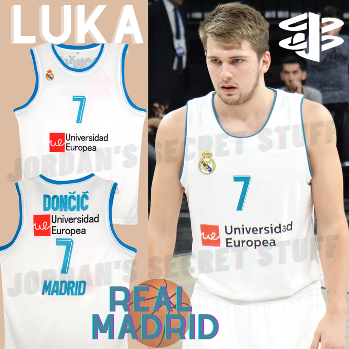 Luka Doncic Real Madrid EuroLeague Basketball Jersey (White) Custom Throwback Retro Jersey