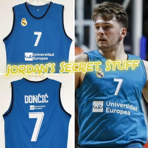 Luka Doncic Real Madrid EuroLeague Basketball Jersey (Blue) Custom Throwback Retro Jersey