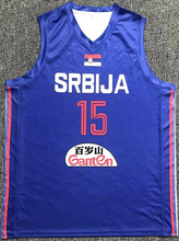 Load image into Gallery viewer, Nikola Jokic Serbia EuroLeague Basketball Blue colorway Jersey Custom Throwback Retro Jersey