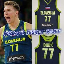 Load image into Gallery viewer, Luka Doncic Slovenia EuroLeague Basketball Jersey (Blue) Custom Throwback Retro Jersey