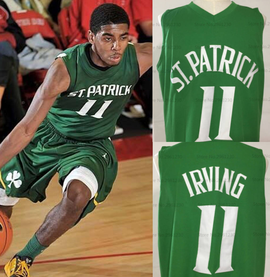 separation shoes c6df1 44a6a Kyrie Irving St. Patrick High School Basketball Jersey (Away) | Custom  Throwback Retro Jersey