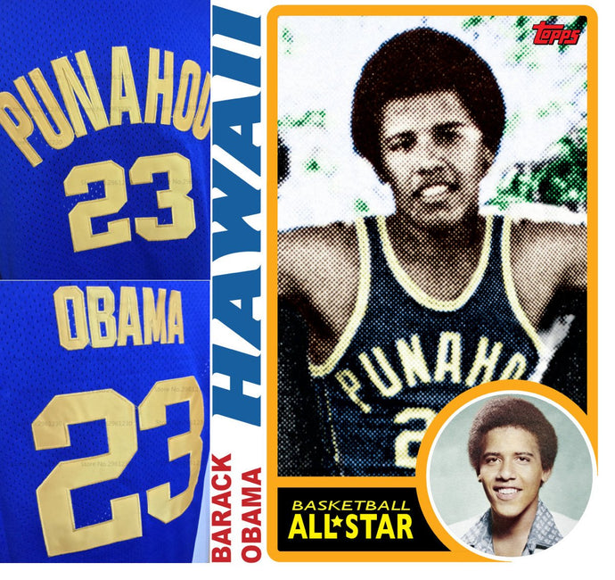 Barack Obama Punahou High School Basketball Jersey Custom Throwback Retro Jersey