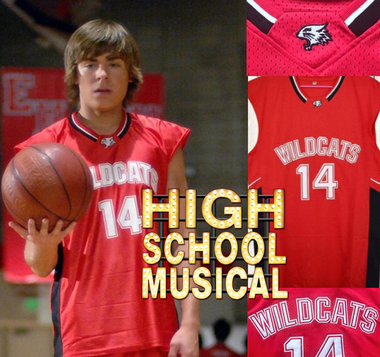 11560fa26 Troy Bolton High School Musical Movie Red Jersey – JordansSecretStuff