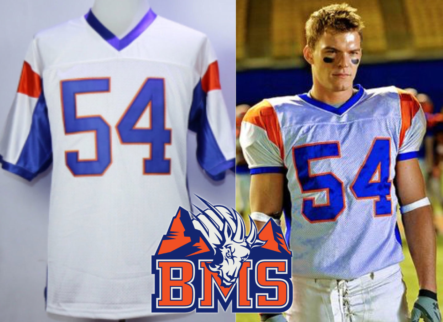 Thad Castle Blue Mountain State (BMS) TV #54 Football Jersey Custom Throwback Retro TV Show Jersey