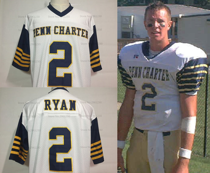 Matt Ryan Penn Charter High School Football Jersey Custom Throwback Retro Jersey