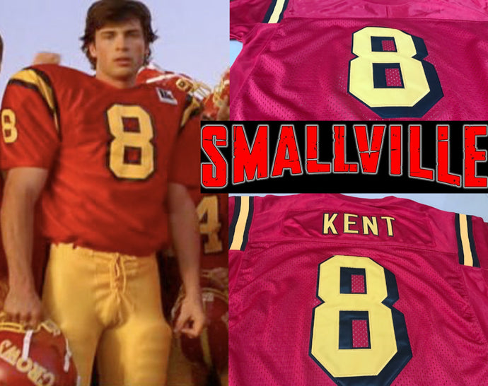 Clark Kent Smallville TV Superman #8 Football Jersey Custom Throwback Retro TV Show Jersey