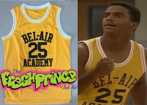 Carlton Banks Fresh Prince of Bell-Air TV #25 Basketball Jersey Custom Throwback 90's Retro TV Show Jersey